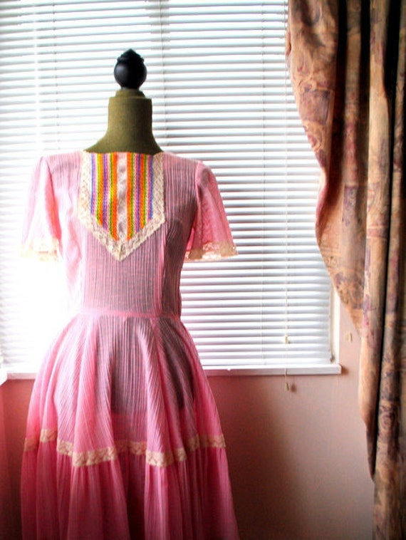 Boho vintage 70s pink crinkled  cotton  summer dr… - image 1