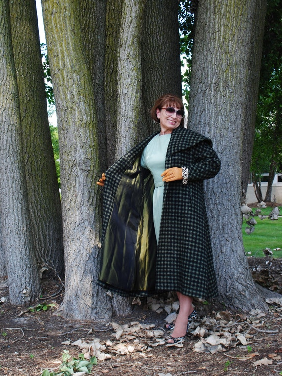 capelet style and Swansdown a M Edwardian Made olive black Size coat 50s green by houndstooth large with wool swing vintage collar 6q44pfdw