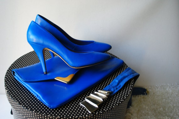 Glamour blue clutch matching With leather 80s 7 condition a stiletto Size Mint and vintage genuine Bling belt by rwFZqnrEx6