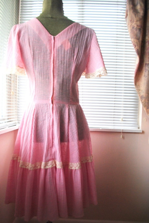 Boho vintage 70s pink crinkled  cotton  summer dr… - image 7