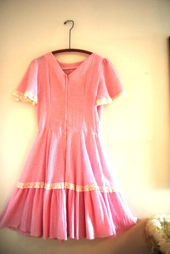 Boho vintage 70s pink crinkled  cotton  summer dr… - image 5
