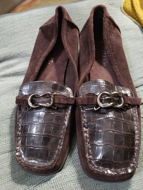 SlipperWildleder Schuhe Braun Leder Reptil Damen Druck Und kZwPOuXTi