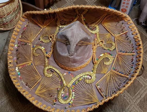 Vintage Authentic Velvet Mexican Cowboy Sombrero H