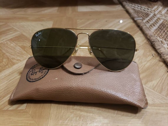 Vintage 1980s B&L Ray Ban Aviator Sunglasses with