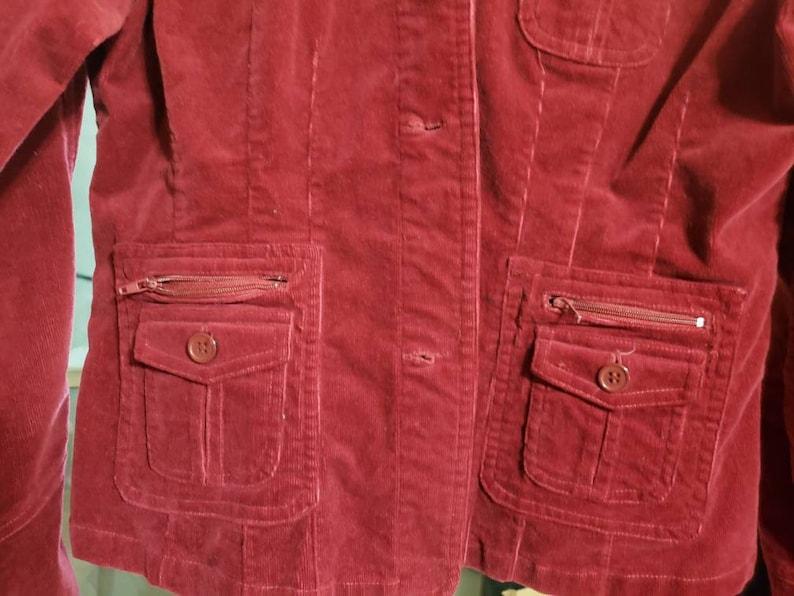 Copper Key Stretch Maroon Velour Crop Jacket Size Large
