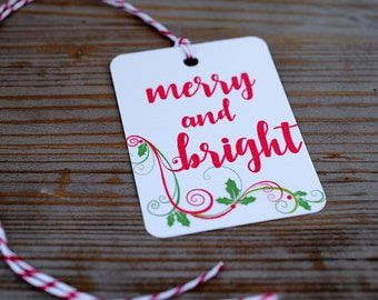 Christmas Tags / Christmas Gift Tags / Holiday Tags / Merry and Bright Tags /  Tags with Bakers Twine / Gift Tags / Mini Tags / mad4plaid