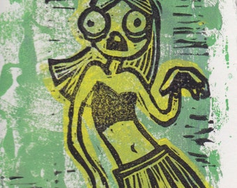 sassy zombie hand-pulled block print