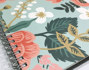 Ruled Journal - Coral Flowers on Aqua