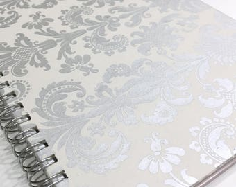 Ruled Journal - Silver Damask on Beige