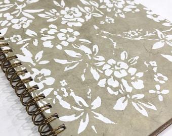 Ruled Journal - White Flowers on Beige