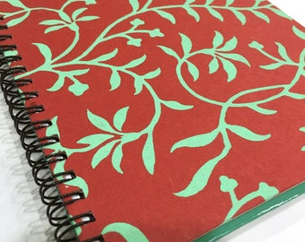 Ruled Journal - Green Vines on Red