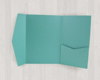 10 Vertical Pocket Enclosures - Teal & Blue-Green - DIY Invitations - Invitation Enclosures for Weddings and Other Events