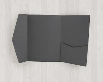 10 Vertical Pocket Enclosures - Gray, Black & Silver - DIY Invitations - Invitation Enclosures for Weddings and Other Events