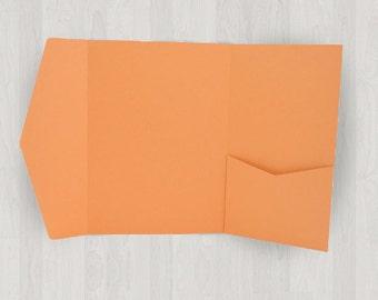 10 Large Vertical Pocket Enclosures - Oranges - DIY Invitations - Invitation Enclosures for Weddings and Other Events