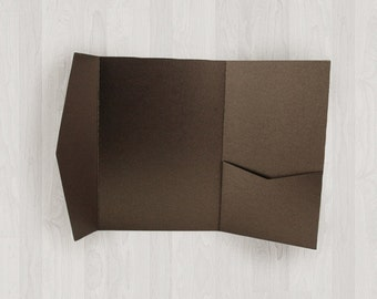 10 Vertical Pocket Enclosures - Brown - DIY Invitations - Invitation Enclosures for Weddings and Other Events