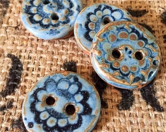 Blue Floral Pottery Buttons- Set of 4