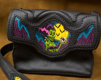 Custom Leather Purse with Tooled Artwork