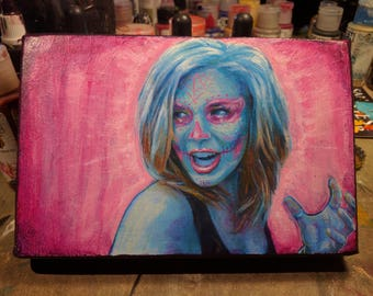 Some Girl in Blue and Pink origina painting