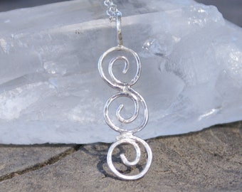 Sterling Silver Spiral Pendant Artisan Delicate Hammered