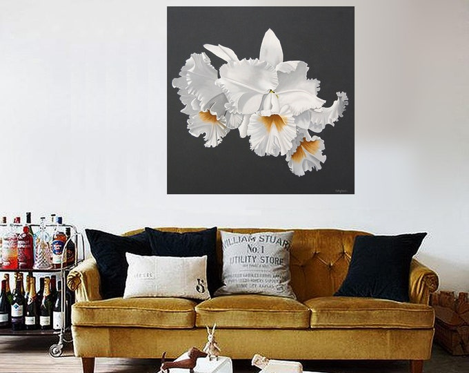 Orchid Flower Painting - White Frilled Orchid Monochromatic Gray Botanical Acrylic Statement Painting