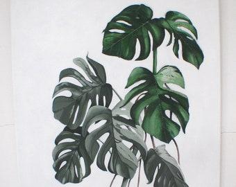 Monstera Painting - Leaves Wall Art, Cheese Plant Art, 3D Wall Art, Tropical Wall Art, Leaves Picture, 3D Leaves, Fiber Wall Art, Fabric Art