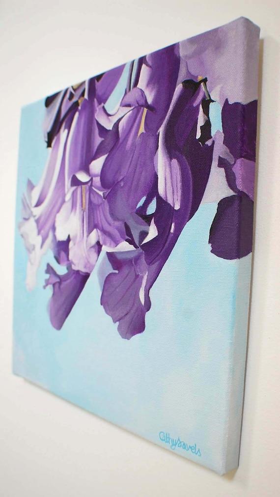 Purple African Tree Flower Macro Photo-Realistic Original Wall Art Jacaranda Flower Painting
