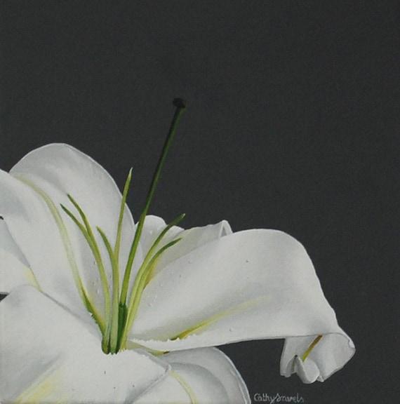 Lily Flower Painting White Stargazer Lily Macro Botanical Etsy