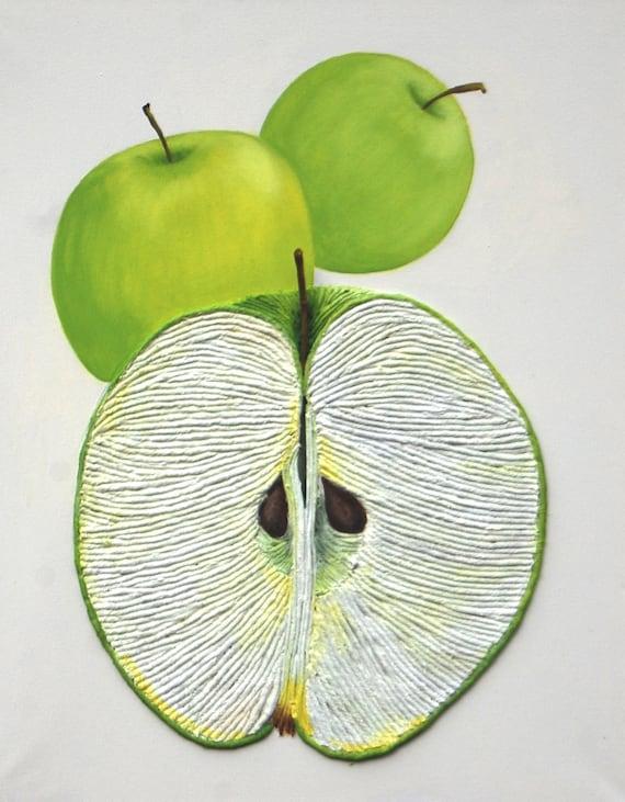 Apple Wall Art Green Apples String Art Textured 3D Painting | Etsy