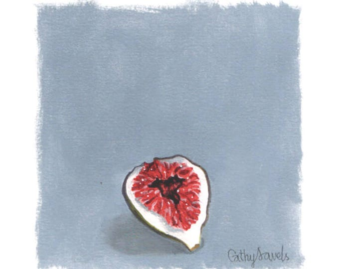 Fig Oil Painting - Half Fig Botanical Oil on Gray Background Small Wall Art on Paper