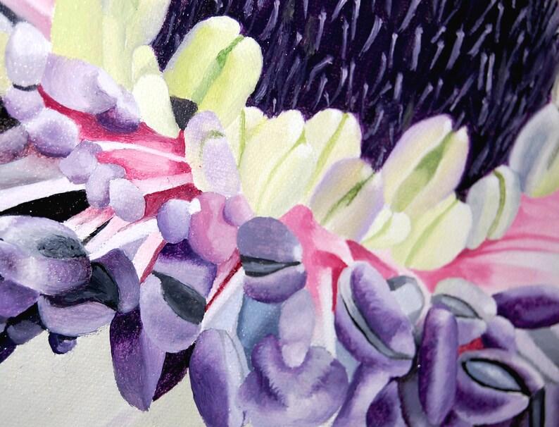 Anémone fleur peinture à lhuile violet vert botanique | Etsy