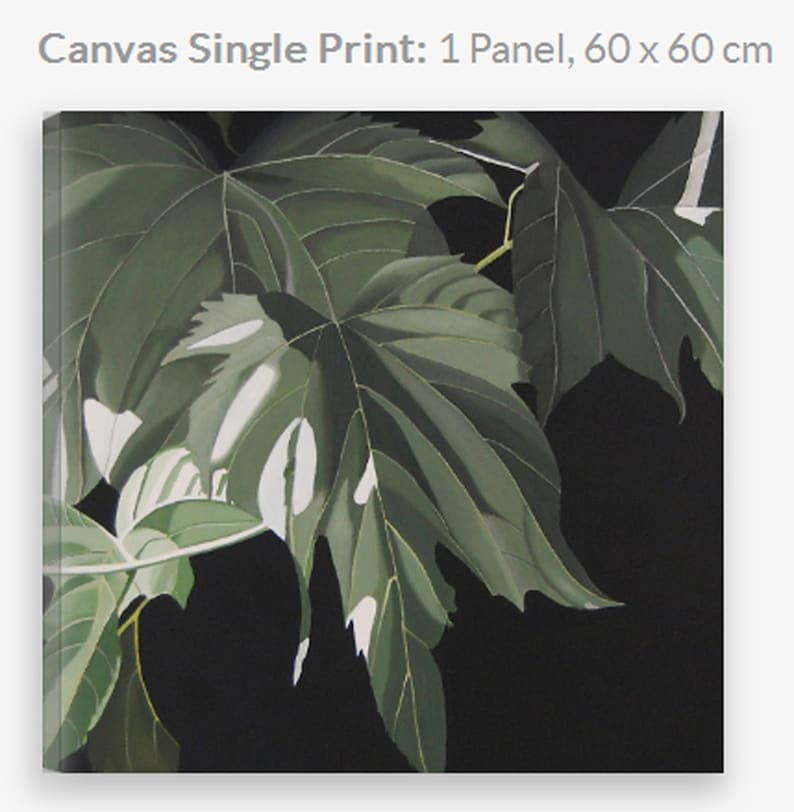 Leaves Canvas Print  Green Mulberry Large Decorative Modern image 1