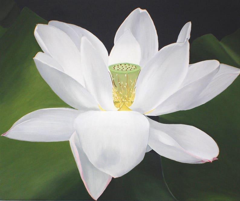 White Lotus Flower Painting Zen Decor Large Floral Wall Art Etsy