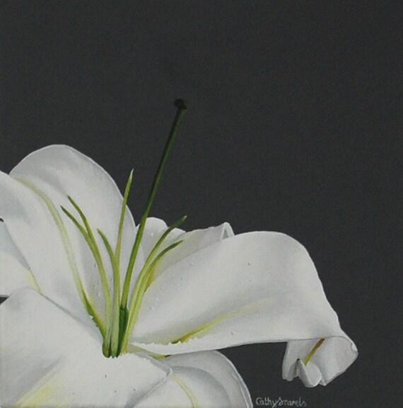 Lily flower painting white stargazer lily macro botanical etsy image 0 mightylinksfo