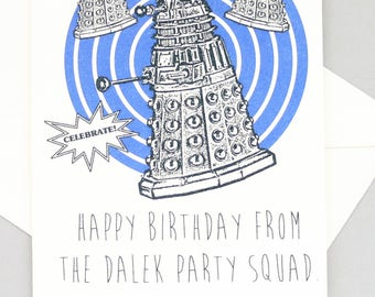Doctor Who Birthday card - Dalek - Tardis - Dr Who - geeky - party - awesome - funny Doctor Who birthday Doctor Who gift Doctor Who present