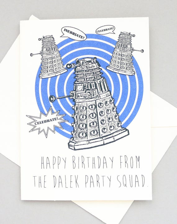 Doctor Who Birthday Card Dalek Tardis Dr Who Geeky Etsy