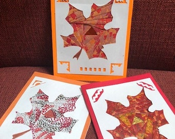 Autumn Leaves  Iris Folded Blank Card - blank inside -  Free Shipping in US