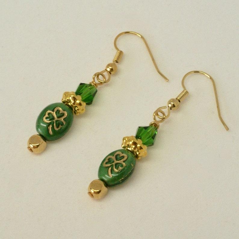 c172ee5ad Gold Shamrock Earrings Green Celtic Earrings Three Leaf | Etsy