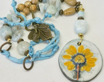 Yellow Floral Pendant, Floral Jewelry, Handmade Ceramic Focal, Art Jewelry, Earthy Statement Necklace, Pale Blue Necklace, Gift for Mom