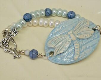 Dragonfly Bracelet, Dragonfly Jewelry, Ceramic Blue Bracelet, Pearl Bracelet, Word Bracelet, Blue Cuff Bracelet, Pastel Blue Bracelet, Gift