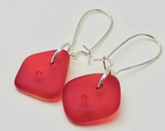Modern Red Earrings, Casual Red Earrings, Red Cultured Sea Glass Earrings, Sterling Silver Red Earrings, Easter Earrings, Gift for Her