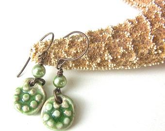 Green Earrings, Green Jewelry, Handmade Ceramic Earrings,  Ceramic Art Jewelry, Saint Patricks Day Fun Earrings, Birthday Gift, Boho Jewelry