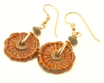 Burnt Orange Earrings, Textured Ceramic Geometric Dangles Geometric Jewelry, Handmade Copper Earrings, Rustic Boho Earrings, Gift Under 25