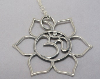 Lotus Necklace, Ohm Pendant, Silver Yoga Jewelry, Lotus Om Pendant, Sterling Silver Lotus Pendant, Floral Pendant,  Yoga Jewelry Gift, Mom