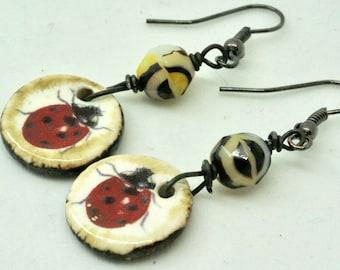 Lady bug earrings, Artisan Lady Bug Jewelry, Bug Earrings, Red Insect Earrings, Red Ceramic Earrings, Casual Summer Earrings, Gift