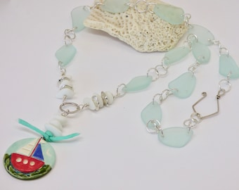 Long Beach Necklace, Sailing Pendant, Cultured Sea Glass Necklace, Aqua Necklace, Nautical Necklace, Boat Jewelry, Art Jewelry, Beach Lover