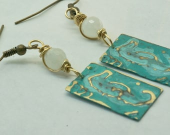 Seahorse Earrings, Seahorse Jewelry, Aqua Earrings, Blue Earrings, Handmade Patina Earrings, Beach Jewelry, Ocean Earrings, Gift for Her