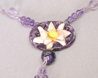 Boho Purple Floral Necklace, Lotus Flower Necklace, Amethyst Statement Necklace, Yoga Necklace, Botanical Necklace, Yoga Jewelry, Gift
