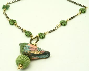 Green Bird Necklace, Floral  Bird Jewelry, Long Chain Necklace, Bird Pendant, Bird Lover Gift, Nature Art Necklace, Multi Colored Necklace