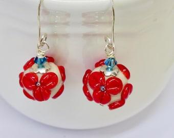 Red floral earrings, Flower Lampwork Earrings, Red Jewelry, Red, White, Blue Earrings, Handmade Sterling Silver Earrings with Red Rosebuds
