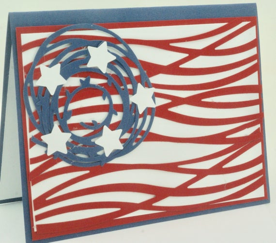 abstract american flag card patriotic card red white blue etsy